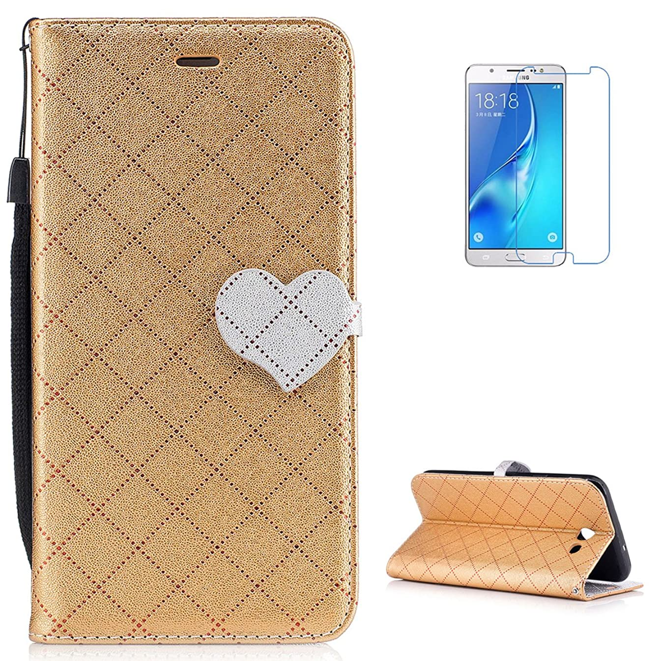KaseHom Galaxy J7 2017/J720 Premium FILP Case [Free Screen Protector] Classic Love Heart Design Wallet Leather Folio Magnetic Holster with [Card Holder] Slim Shockproof Cover Shell - Golden