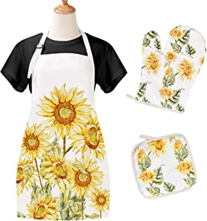 Claswcalor 3 Pcs Sunflower Apron Set, Microwave Oven Gloves and Insulation Pads Waterproof Yellow Cooking Apron Sunflower Baking Apron for Women (Yellow, 27.6 × 31.5 inches)