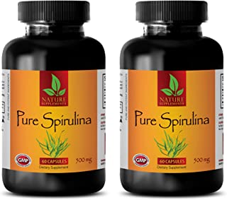 Natural Energy Pills for Women, Brain Support, Digestion aid - Pure SPIRULINA 500mg - Natural spirulina, Blue Green Algae ...
