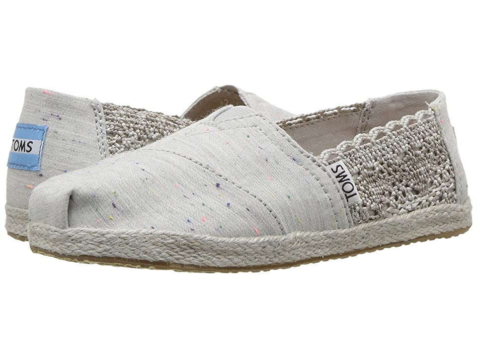 TOMS Kids Alpargata (Little Kid/Big Kid) (Grey Crochet/Multi Fleck Rope Sole) Girl