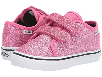 Vans Kids Style 23 V (Infant/Toddler) ((Glitter) Azalea Pink/True White) Girls Shoes