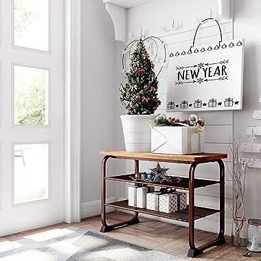 "VASAGLE Industrial Bench Rack, 3-Tier Shoe Storage Shelf for Entryway Hallway Living Room, 26"", Rustic Brown"