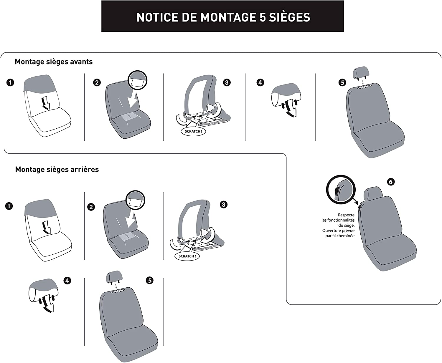 Grey DBS 1012724 Universal Non-Slip Washable 5-Seater Car Seat Covers Black