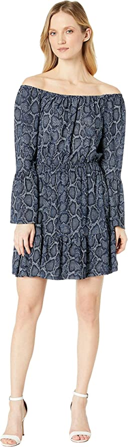 Snake Square Wide Sleeve Dress