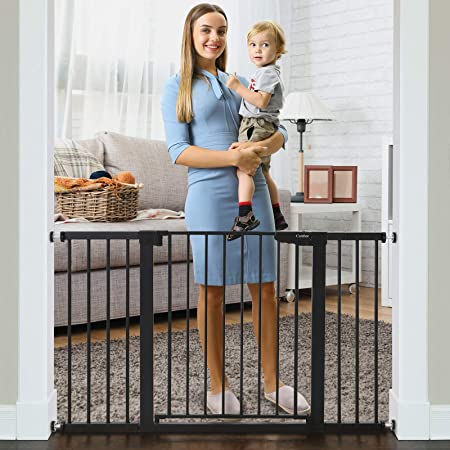 """Cumbor 51.6"""" Baby Gates Extra Wide for Stairs and Doorways, Durable Safety Dog Gate for The House, Easy Walk Thru Auto Close Baby Child Gates, Includes 2.75"""", 5.5"""" and 11"""" Extension, Mounting, Black"""