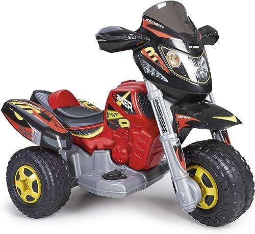 FEBER Famosa 800008540 Racer - Motorrad mit 3 R rn, für Kinder von 3 bis 7 Jahren, 6V, rot und Schwarz