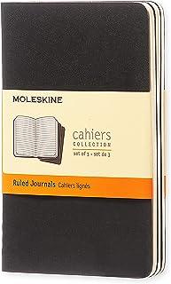 Moleskine S04894 Cahier Notebook - Set of 3 - Ruled - Pocket - Black, (QP311)