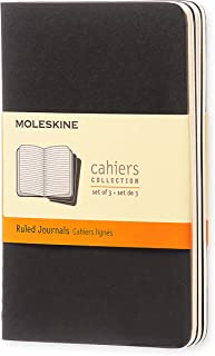 Caderneta Cahier, Preta, Conjunto com 3 Unidades, Pautada, Tamanho Bolso