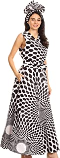 Beyaz Women's Maxi Sleeveless Wrap Long Dress with Pockets V Neck African