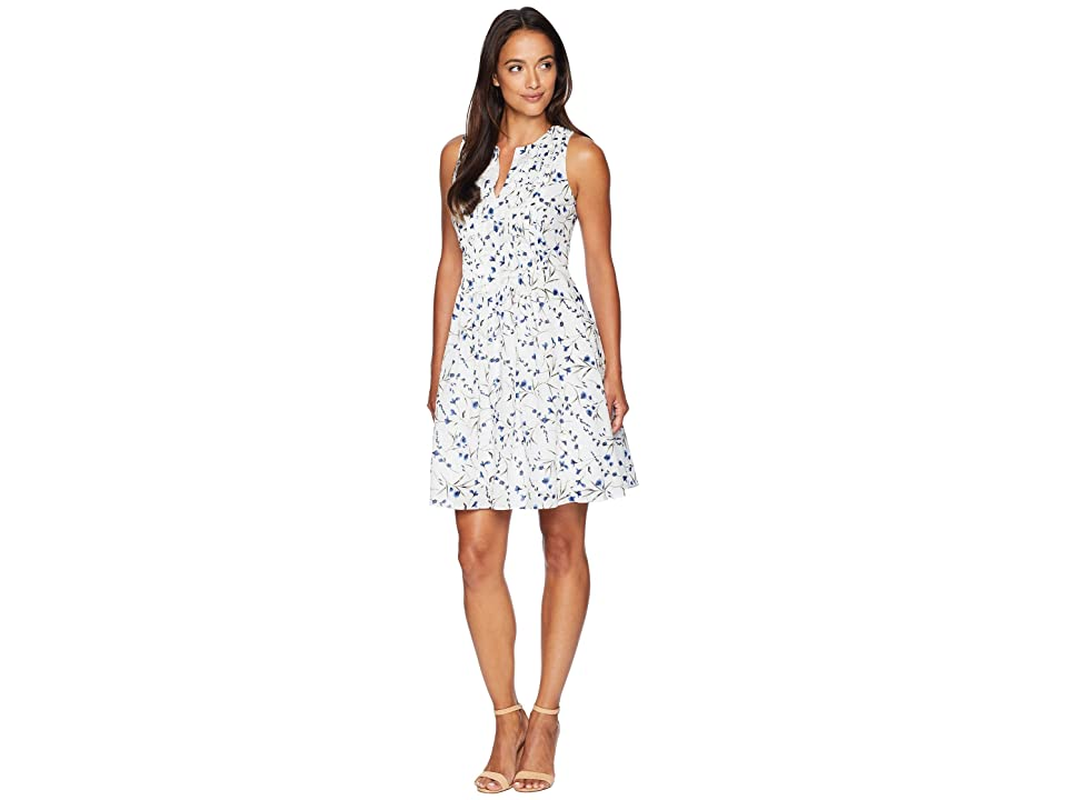 CeCe Short Sleeve Graceful Floral Pintuck Dress (Ultra White) Women