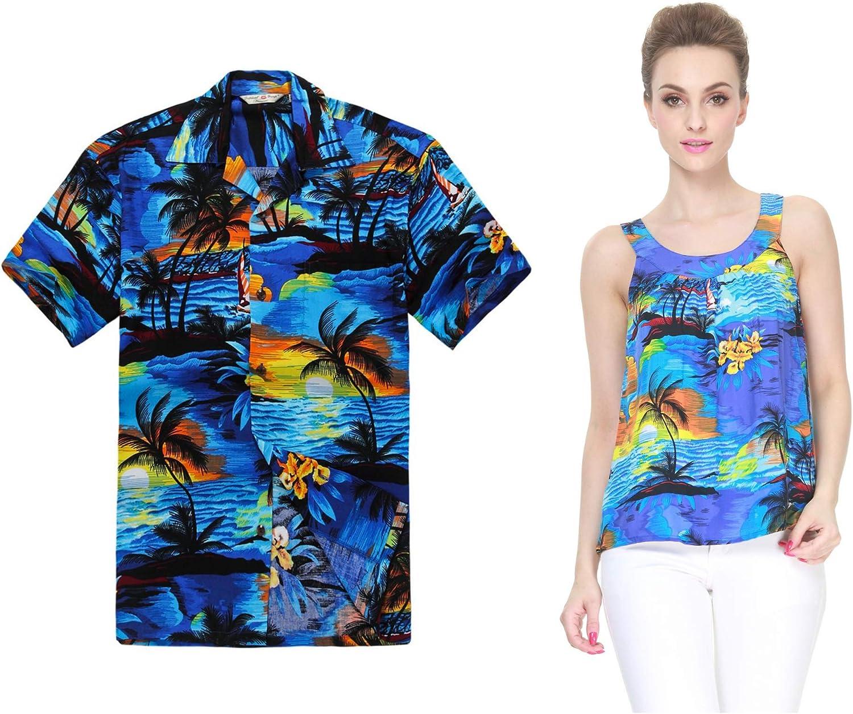 Par a Juego Hawaiian Luau Outfit Aloha Camiseta y Camiseta sin Mangas en Puesta de Sol Patrones en 2 Colores