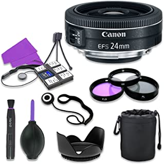 Canon EF-S 24mm f/2.8 STM Lens for Canon Digital SLR Cameras with 52mm Filter Kit (UV CPL FLD) + Accessory Bundle (12 Items)