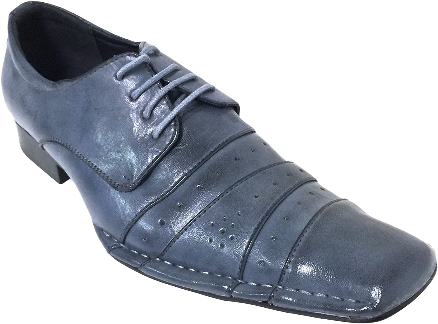 Men's Dress Shoes Italian Style Oxfords Pleated Casual Fashion Lace up Tapered Toe, Black, Blue, Burgundy