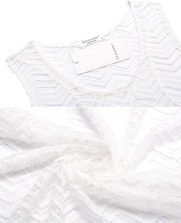 Ekouaer Women's Swimsuit Cover Ups Lace Bikini Beachwear Sexy Bathing Suit Coverups S-XXL