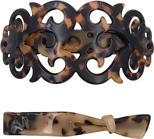 (One, Tortoise shell) - Strong Large Barrette + Hair Clip Grip Set For Thick Hair Tortoise Shell Pattern For Women La...