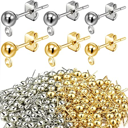 Stainless Steel Stud Earring 0.8mm Pin Flat Round Earring with Ear Nuts Findings Components for Jewelry Making 20Pairs UNICRAFTALE 4 Mixed Colors Stud Earrings 40pcs