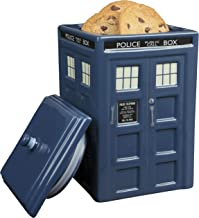 """Doctor Who TARDIS Cookie Jar - Collectible Ceramic Dr. Who Police Box with Lid - 10""""h"""