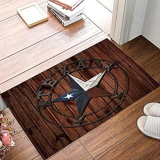 SUN-Shine Rustic Rug Western Texas Star Doormats Non Skid Entryway Door Mat Vintage Wood Board for Indoor Bathroom Bedroom Kitchen Living Room
