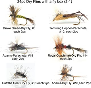 Riverruns Best Assortment 12 Dry Flies Collection Total 24 Flies with A Mini Fly Box,Sall, Royal Coachman, March Brown, Griffiths Gnat, Drake, Tentwing Hopper, Adults Dry Fishing Flies