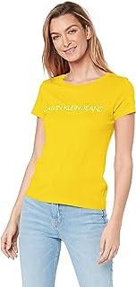 Calvin Klein Jeans Women's Institutional Logo Slim Fit T Shirt, Lemon, M