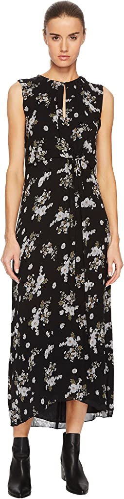 Vince Tossed Floral Side Drape Dress