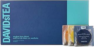 DAVIDsTEA Sachet Tea Chest, Premium Tea Gift Box, Full Leaf and Bigger Ingredients for Fuller Flavour Tea Sachets, 48 Sachets, 156 Grams