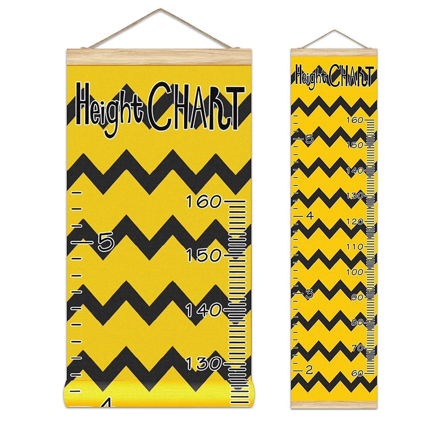 Popular brand Growth discount Chart Kid's Height Black Back Yellow Stripe On Wave