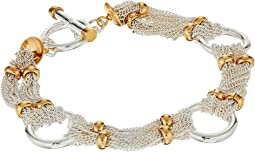 "LAUREN Ralph Lauren Back to Basics II 7.5"" Fine Chain and Ring Two-Tone Bracelet"