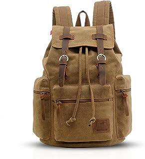 Vintage Mochila de Lona Bolsa Escolar Mochilas tipo casual Canvas Daypacks Bolsos Mochila para Hombre Mujer Deportes aire libre senderismo Multiusos Mochila a diario para Viaje Hiking Marrón a