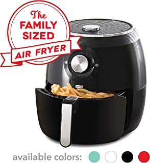 Dash DFAF455GBBK01 Deluxe Electric Air Fryer + Oven Cooker with Temperature Control, Non Stick Fry Basket, Recipe Guide + Auto Shut Off Feature, 6qt, Black