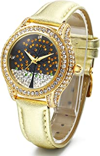 Time100 Womens Diamond Fashion Genuine Leather Band Watch The Tree of Lift Pattern