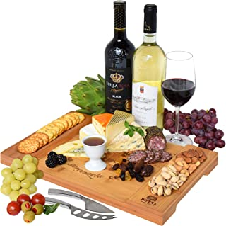 Unique Bamboo Cheese Board, Charcuterie Platter & Serving Tray for Wine, Crackers, Brie and Meat. Large & Thick Wooden Server - Fancy House Warming Gift & Perfect Choice for Gourmets (Bamboo)