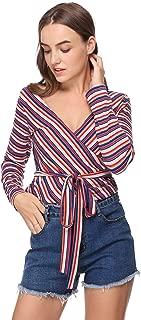 HUA XI YA Womens Warp V Neck Long Sleeve Belted Waist Knitted Striped Blouse Top