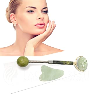 Jade Roller and Gua Sha Scraping Anti Aging Massage Tool Set for Face and Body – Upgraded Larger Ball Roller and Ball End – Bonus Gua-Sha Scraper for Deeper Face and Body Anti-Aging Massage