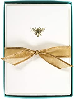 Graphique Bee La Petite Presse Boxed Notecards, 10 Embellished Gold Foil Blank Cards with Matching Envelopes and Storage Box, 3.25
