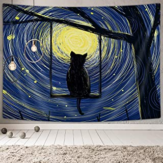 NYMB Strry Night Tapestry, Fantasy Animal Cat Moon and Stars Tapestry Galaxy Tapestry Wall Hanging Art for Bedroom Living Room Collage Dorm Room