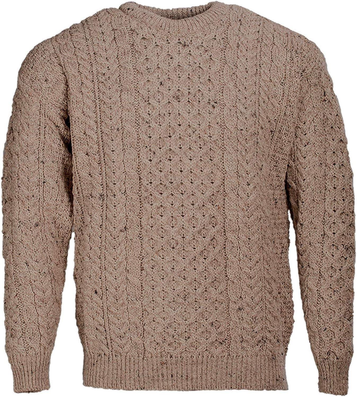 Aran Sweater Men's Traditional Knit 100% Wool Crew Neck Made in Ireland