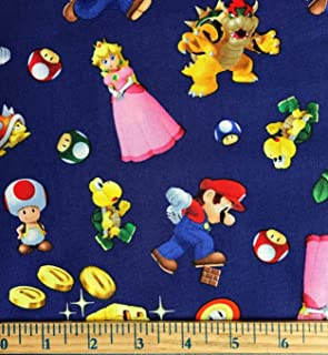 1 Yard - Mario Characters Tossed on Navy Blue Cotton Fabric (Great for Quilting, Sewing, Craft Projects, Throw Pillows & More) 1 Yard X 44