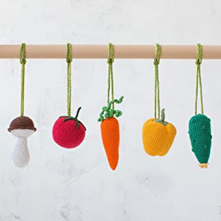 Baby Gym Mobiles Vegetables Set of 5 by LanaCrocheting. Handmade in Eastern Europe. Play Gym Accessories, Baby Rattles, Crochet Veggies. Nursery Decoration. Baby Shower Gift. Gender Neutral