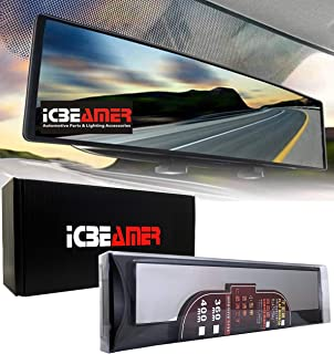 """ICBEAMER 15.8"""" 400mm Easy Clip on Universal Fit Wide Angle Panoramic Auto Interior Rearview Mirror Flat Clear Surface"""