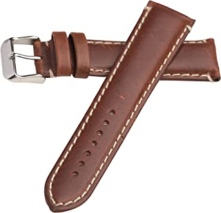 Hadley Roma MS885 20mm Long Watch Band Chestnut Oil Tan Leather Contrast Stitch