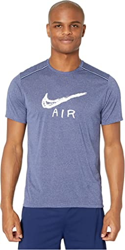 cb7e2bf8 Nike. Dry Miler Top Short Sleeve. $35.00. Blue  Void/Heather/White/Reflective Silver