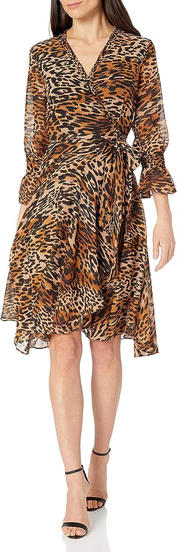 Tahari ASL Women's Long Sleeve Surplice Leopard Print Dress with Tie Waist
