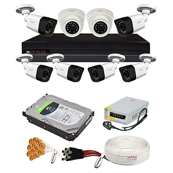 CP Plus 2.4MP, H.265+, 2TB Storage, 8 Camera Combo Kit with (8Ch DVR, 2 Dome 6 Bullet Cameras, 2TB HDD, Power Supply, 90Mtr Cable, Audio Mic and Connectors) 2.4 MegaPixel CCTV Security Camera Set