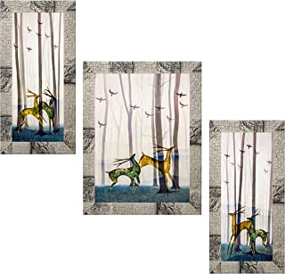 Indianara Set of 3 Deer Pair in the Jungle Art Painting (3226MW) without glass 6 X 13, 10.2 X 13, 6 X 13 INCH