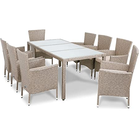 Deuba Tavolo e sedie da giardino in polirattan 6 sedie impilabili set mobili da esterno giardino balcone terrazzo nero