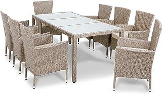 Deuba Conjunto de mesa y silla de poliratán 8+1 Gris Beige sillas apilables Muebles de jardín Set mesa y sillas cojines
