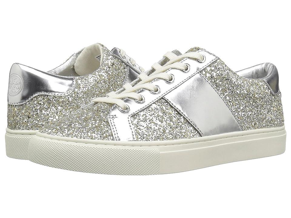 Tory Burch Carter Glitter Lace-Up Sneaker (Silver/Silver) Women
