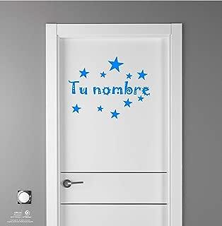 Artstickers Adhesivo Infantil para decoración de Muebles, Puertas, Paredes.Elige el Nombre de tu Bebé, en Color Azul. Nombre de 20cm + Kit de 10 Estrellas para Libre colocación.