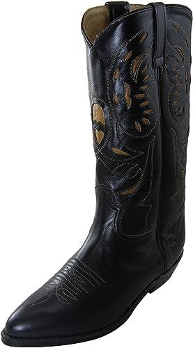 Vintage Charro El damen schwarz 1253 Stiefel Leather